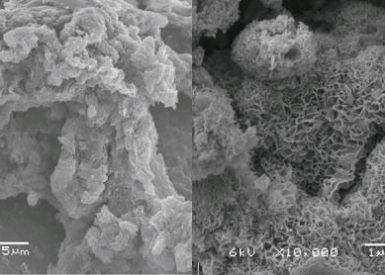 Birnessite biologisch (links) en fysisch chemisch (rechts)
